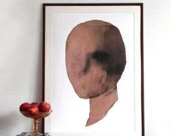 Minimalist Large Wall Art, Abstract Head, Giclee Art Print, Spray Paint, 50x70 / 70x100