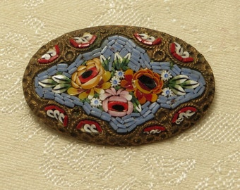 Vintage antique late Victorian early Art Deco era ornately detailed micro mosaic tile Italy rose floral bouquet oval shape pin brooch