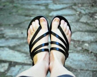 Black summer sandals, womens leather black slides