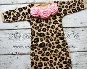 Leopard print baby gown and headband set  Baby shower gift Baby layette Infant girl first outfit Baby girl take home outfit Coming home baby