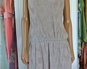 1960s Party Dress Drop Waist Taupe Velveteen Crepe Crystal Deco by Mr. Mort /S