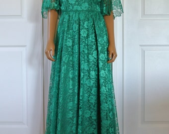 1960s Mike Benet Lace Gown Kelly Green Floral Lace Chiffon Capelet Draped Back Sheer Bell Sleeves/M/L