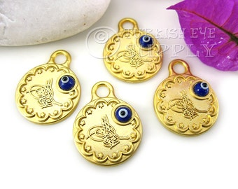 4 pc Ottoman Gold Coin Replica with Hand Made Glass Evil Eye, 22K Gold Plated Turkish Coin Turkish Jewelry