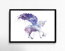 SALE! Unicorn Watercolour Art Print,Unicorn Wall Art,Unicorn Print,Unicorn Poster,Watercolor Nursery Art Print, Unicorn Nursery, Purple,ET36