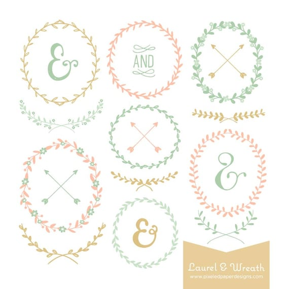 Laurel & Wreath Digital Clipart - Pastel Colored Graphics for Card, Wedding Invites, Photography, DIY, etc | Commercial License Available