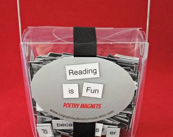 Reading is Fun Poetry Magnet Set - Refrigerator Poetry Word Magnets - Free Gift Wrap