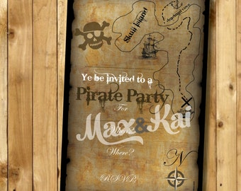 Instant Printable Invitation - Instant Download DIY Printable for 'Old Worldly Pirate' Party Scroll Invite