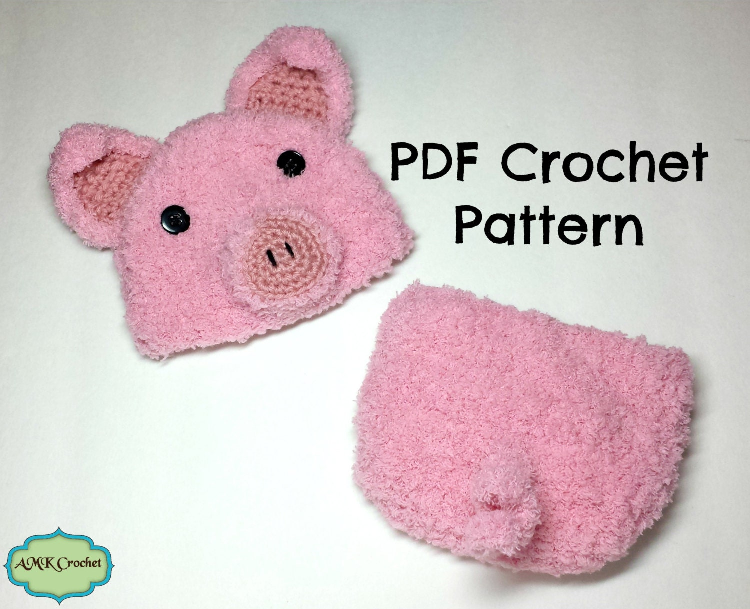 Crochet Pattern Pig Hat : CROCHET PATTERN Crochet Newborn Baby Piglet Hat and by ...