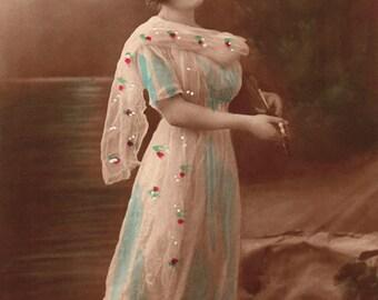 1913 Edwardian Lady on Moonlit Beach with Mandolin 2 (Vintage Photo, Digital Scan, Instant Download, Crafts, Image Transfer, Graphic Design)