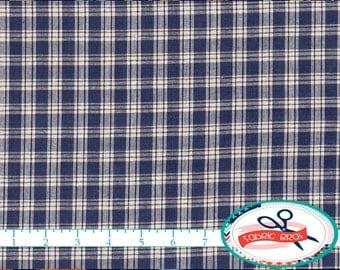NAVY BLUE HOMESPUN Fabric by the Yard, Fat Quarter Check Fabric Rustic Plaid Fabric 100% Cotton Fabric Quilting Fabric Apparel Fabric w4-21