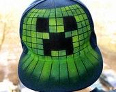 MINECRAFT hat   Creeper   Custom SNAPBACK   GRAFFITI named   Cap   Hat   Flat peak   Baseball Cap   Personalized   Hand painted   Airbrushed