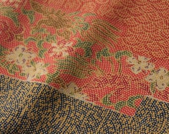 Komon / Brown /Vintage Japanese Kimono silk fabric