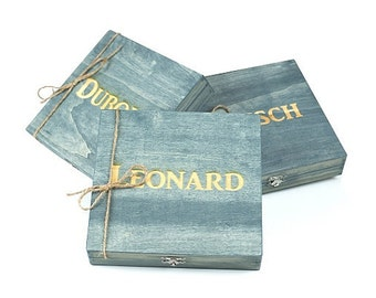 Groomsmen Gift - 6 Rustic Cigar Boxes With Laser Engraved Names-FREE Shipping - Personalized & Stained - FREE SHIPPING - Felt Lined Bottom
