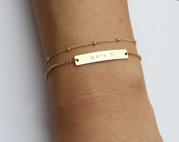 Name plate bracelet SET - Mother's Day gift//Gold filled and Sterling silver Personalized skinny name plate bracelet // Gift for her
