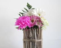 Round Driftwood Vase, Driftwood Centerpiece, Wedding Centerpiece, Candle Holder, Driftwood Vase, Driftwood Decor, Wood Vase