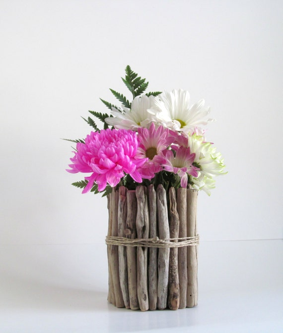 Round driftwood vase centerpiece by driftingconcepts
