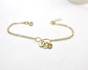 initial infinity Bracelet . 1,2,3,4 initials Bracelet .3 disc,gold filled Infinity Charm Bracelet .Personalized  Infinity Jewelry, Monogram