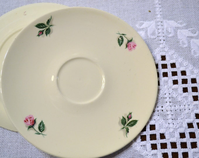 Vintage Knowles Saucer Plate White Pink Rose Made in USA PanchosPorch