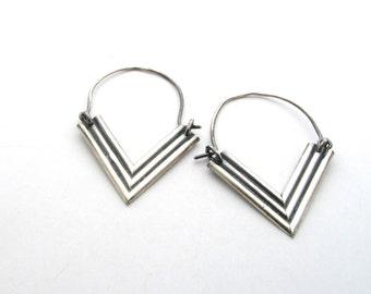 Chevron Hoop Earrings.