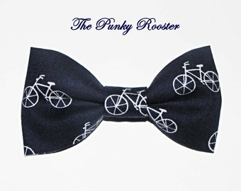 Navy Bike Bow Tie, Clip on Bow Tie, Little Bicycles
