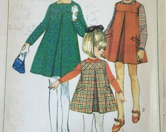 Simplicity 7279 Vintage Sewing Pattern - Girls Dress - Girls Jumper Size 6 - Breast 24 inches (61 cms)