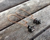 Hematite Earrings, Black Hematite Earrings, Gray Hematite Earrings, Copper Earrings, Hematite Jewelry, Copper Jewelry, Kidney Wires