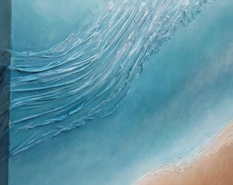 Abstract seascape, original painting, mixed media on canvas, 30'' x 30'', sea, ocean, wave, beach,beige, blue, turquoise