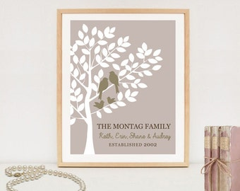 Personalized Family Tree Sign - Personalized Beige family wall art - Printable family tree - DIGITAL file!