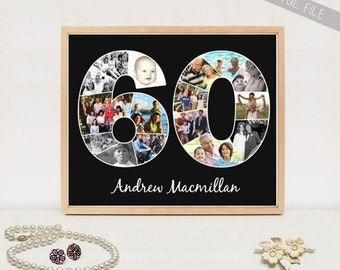 Personalized 60th birthday gift - Custom Birthday Gift Print Photo Collage - DIGITAL FILE!