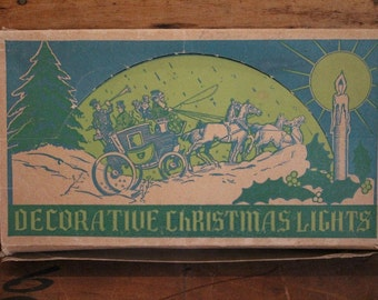 Working 1930's era Decorative Christmas Lights in Original Box