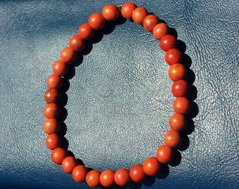Handcrafted Men's Reconstructed turquoise Orange Gemstones Stretchable Bracelet