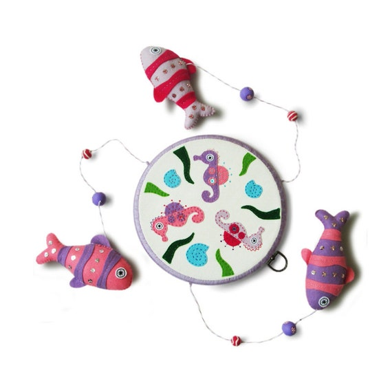 Fish baby mobile unique design nursery decor by feltberryuk for Unusual baby mobiles