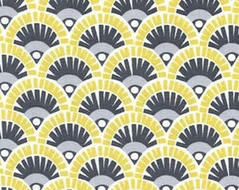 Citron Fan Fabric - From Citron Gray Collection  by Michael Miller CX 6262 Lemon-Lime Gray -  1/2 yard