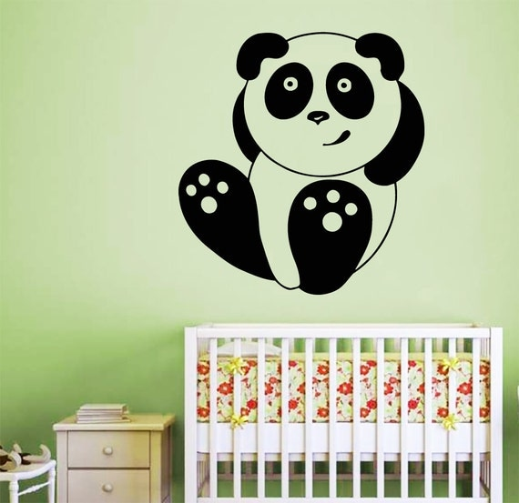 Items Similar To Wall Decals Cute Toy Cartoon Panda Laying