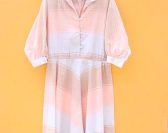 Miss Missy Vintage Dress *FREE SHIPPING* // Retro Pastel Full Circle Skirt Large 16 Womens Long Sleeve Dolman Dress