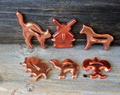 metal cookie cutters copper-tone aluminum // assorted lot of  6