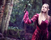 Gabriel Dress - Wine Medieval / Elven Style Velvet Dress