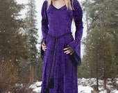 Gabriel Dress - Medieval Style Velvet Dress - purple, wine, green, silver