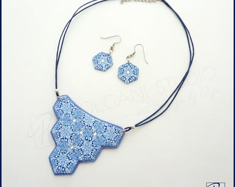 Jewelry Set Necklace and Earrings Handmade  Polymer Clay Statement Jewelry Blue White. Ready to ship.