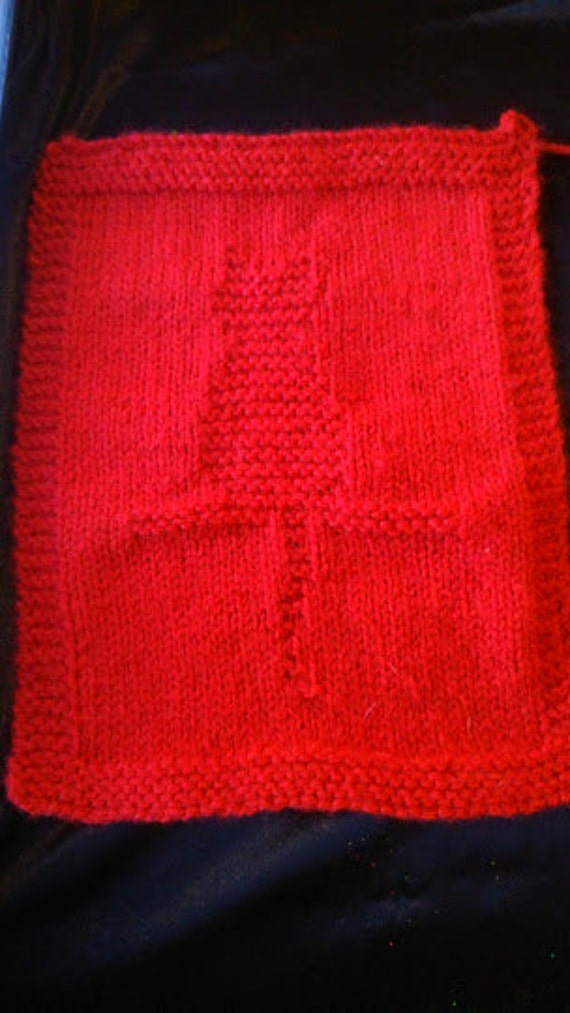 Knitted Dalek Pattern : Cat Panel / Square/ Dishcloth Knitting Pattern by SynergyStitches