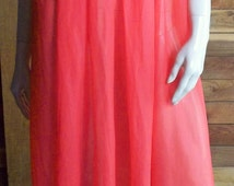 Vintage Lingerie 1960s GMC Red Chiffon Nightgown Small