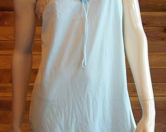 Vintage Lingerie 1970s OLGA Sleeping Pretty Blue Babydoll Nightgown Size 32