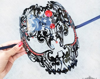 Black Skull Mask with Red Rhinestones - Laser Cut Masquerade Mask - Exquisite Skull Head Masquerade Mask - Metal Mask by 4everstore