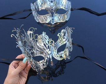 His & Hers Couples Masquerade Mask, Silver Filigree Metal Masquerade Masks for Couples, Masquerade Ball Mask, Halloween Costume Mask