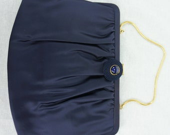 Vintage Navy Blue bb & b Travel Goods Clutch with Gold Strap