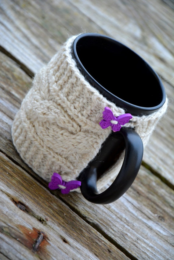 Knitted Mug Warmers Pattern : Knit coffee mug cozy / mug warmer with cable pattern, white cup sleeve,butter...