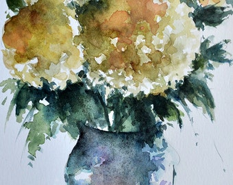 ORIGINAL Watercolor Painting, Floral Painting, Yellow Peonies In A Vase 5,5x8 Inch