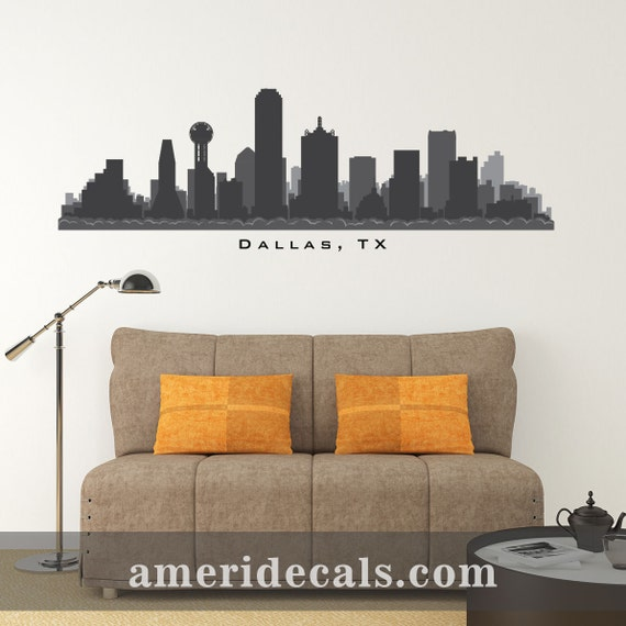 Items similar to dallas texas skyline wall decal art print for Real estate office wall decor