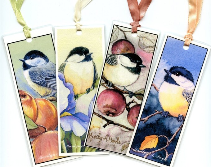 BOOKMARKS-set of FOUR CHICKADEES, 5 inch, laminated,  birds, wings, feathers, nature, garden, flowers, scrapbooking, for teachers,