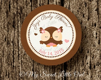 Owl cupcake topper - pink owl party favor tag - owl label - owl birthday party - owl printable - owl sticker - owl baby shower